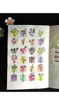 Bullet Journal Banner, Bullet Journal Art, Art Journal Pages, Journal Cards, Junk Journal, Watercolor Pencil Art, Watercolor Art Lessons, Floral Watercolor, Mandala Drawing