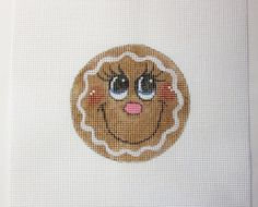 Big Eyed Gingerbread Face Christmas Ornament Handpainted Needlepoint Canvas