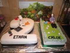 21st cake for twins . Of course these are kinda ew Sooo dog design on cakes