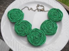 Kelly Green Rosette Necklace, Fabric Roses Necklace, Statement Necklace, Rosette Necklace, Bridal Party Jewelry