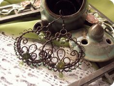 Wire Wrapped Filigree Copper Hoops with Chrysolite by Lirimaer86.deviantart.com on @deviantART