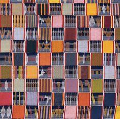 Africa | Details from an Ewe Cloth. Narrow strip woven cotton man's cloth. Ewe tribe. Ghana c. 1925