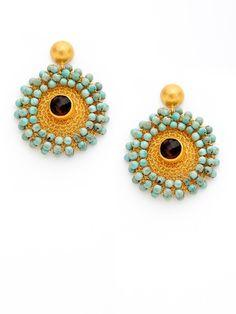 Gold Mesh Medallion Earrings