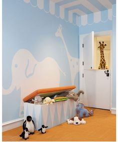 blue nursery with animals
