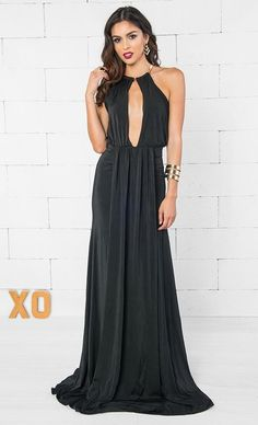 c42717d171 Indie XO Beautiful Liar Black Gold Sleeveless Plunge V Neck Halter Cut Out  Back Ruched Draped