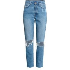 Vintage High Cropped Jeans $39.99 (€34) ❤ liked on Polyvore featuring jeans, pants, bottoms, jeans/pants, pantalones, high rise jeans, vintage high waisted jeans, high-waisted jeans, distressed jeans and blue distressed jeans