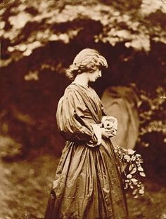 "Photograph by John Robert Parsons, taken in 1865 at the London home of Dante Gabriel Rossetti, who invited him to photograph his favorite model (& lover), Jane Burden. Jane was also married to William Morris. ___ Part of an exhibition entitled, ""A Ballad of Love and Death: Pre-Raphaelite Photography in Great Britain, 1848-1875"" at Musee d'Orsay, Mar 3- May 29, 2011"