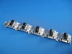 Mexican Sterling Silver Bracelet w/ Carved Onyx by cerritorose, $95.00