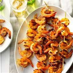 Buttery Grilled Shrimp Recipe -This is easy and delicious! These shrimp are great with steak, but for a special occasion, brush the sauce on lobster tails and grill. —Sheryl Shenberger, Albuquerque, New Mexico Pork Rib Recipes, Grilling Recipes, Fish Recipes, Seafood Recipes, Cooking Recipes, Healthy Recipes, Grilling Ideas, Party Recipes, Delicious Recipes
