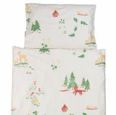 Kinderbettwäsche aus ökologischer Baumwolle mit dezentem Muster Waldtiere von ingegerd - made in Germany. #kinderbettwäsche #bettwäsche #kinder #ökologisch #bio