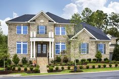 The Georgian elevation with full-front brick and welcoming front porch Outdoor Living Areas, Guest Suite, Gas Fireplace, Model Homes, House Floor Plans, Virtual Tour, French Doors, Fields, Cordoba