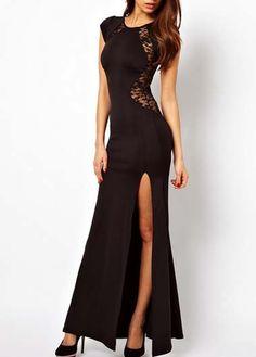Black Round Neck Split Design Skater Dress with Lace