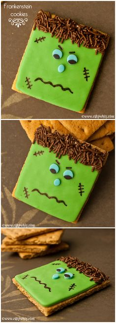 Spooky FRANKENSTEIN COOKIES, made on graham crackers. I also did an easy video tutorial so you can follow along as well! From cakewhiz.com