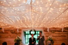 Ceremony Setting: Fabric Draped Ceiling + Twinkle Lights | Photography: Amelia Johnson Photography | See more on SMP: http://www.stylemepretty.com/2013/06/12/idaho-wedding-from-amelia-johnson-photography