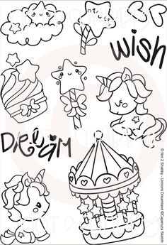 Unicorn Dreamland by Not 2 Shabby perfect for the crafter who loves card making and scrapbooking! Doodle Sketch, Doodle Drawings, Doodle Art, Easy Drawings, Unicorn Drawing, Unicorn Art, Hand Embroidery Designs, Embroidery Patterns, Unicorn Illustration
