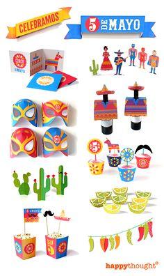 Cinco de Mayo printable party kit! Celebramos! Click here to download: http://printablepaperproducts.com/festival/cinco-de-mayo