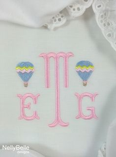 Hot air balloon monogram embroidered on diaper cover/bloomers. NellyBelle Designs