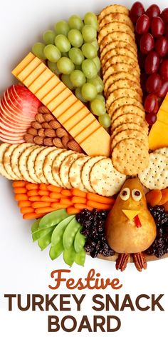 Create a festive and delicious Turkey Snack Board for everyone to gobble up at your Thanksgiving gatherings! #turkeyboard #thanksgivingboard Holiday Treats, Holiday Appetizers, Holiday Recipes, Fall Recipes, Holiday Parties, Appetizer Recipes, Holiday Foods, Thanksgiving Snacks, Thanksgiving 2020