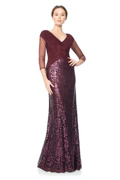 Ruched Tulle Woven Bodice 3/4 Sleeve Gown | Tadashi Shoji $468.00