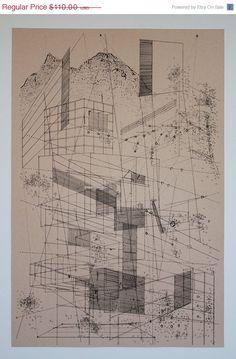 Ben Kafton / 48 Hour Sale Landscape in lines. Architecture Design, Architecture Drawings, Concept Architecture, Landscape Architecture, Section Drawing, Line Drawing, Abstract Drawings, Hand Drawings, Graffiti