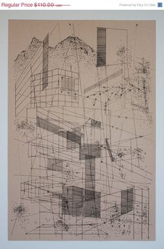 Ben Kafton / 48 Hour Sale Landscape in lines. architectural drawing