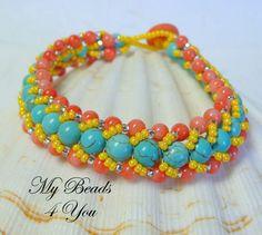 Beadwork Bracelet Flat Spiral Bracelet Embellished by mybeads4you, $35.00