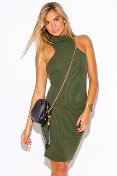 TABLE FOR TWO | olive army green ribbed turtleneck fitted sweater midi dress - 1015store.com