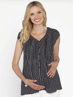 937fc4e43179d Maternity Button Front Loose Fit Nursing Top - Black  Dots