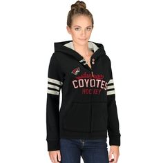 Spruce up your wardrobe and get ready for another epic season with this cozy San Jose Sharks full zip hoodie from CCM. It features a super comfortable design with polyester mesh fabric in the interior of the hood and classic San Jose Sharks graphics. Women's Hockey, Arizona Coyotes, Chicago Shopping, Anaheim Ducks, Trends, Pittsburgh Penguins, Full Zip Hoodie, Hoodies, Sweatshirts