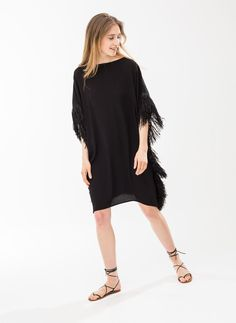 Cape-style fringe dress - See all - READY TO WEAR - Uterqüe United Kingdom