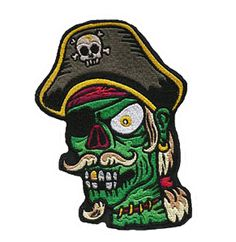 Zombie Pirate Iron On Patch - Punk, Goth, Rockabilly, Psychobilly - Poofhawk