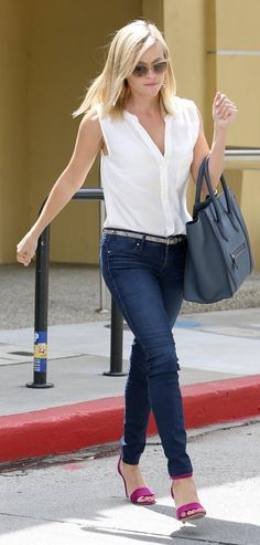 Reese Witherspoon: White sleeveless blouse + skinny jeans + the Jaclyn Heels in berry.