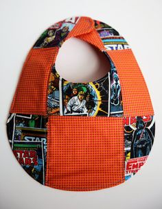 Quilted Patchwork Retro Comic Star Wars and DS Quilts Orange Houndstooth Bib - (6-12 months)