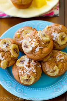 Skinny, Bikini-Friendly Tropical Muffins. Made with bananas, pineapple, orange zest, yogurt, whole wheat flour, and coconut. Easy, moist, low-fat, healthy muffins!
