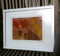 Linoldruck - Bild, LINOLDRUCK ERDENWÄRME, mit Holzrahmen - ein Designerstück von GretesTraum bei DaWanda