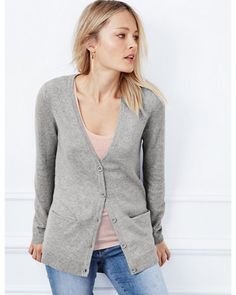 Button-Front Cashmere Cardigan