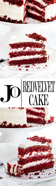 Velvet Cake with Cream Cheese Frosting - this super moist and tender red ve. - Jo Cooks Recipes - - Red Velvet Cake with Cream Cheese Frosting - this super moist and tender red ve. Best Dessert Recipes, Sweet Desserts, Just Desserts, Sweet Recipes, Delicious Desserts, Yummy Food, Cupcake Recipes, Red Velvet Cake, Red Cake