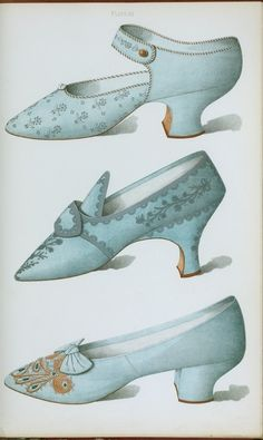 Single strap shoe in French grey satin, and two blue shoes, all embroidered ca.1900