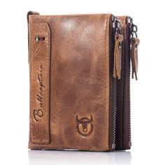 BULLCAPTAIN Men Zipper Minimal Wallet Genuine Leather Short Wallet Vintage Coin Bag