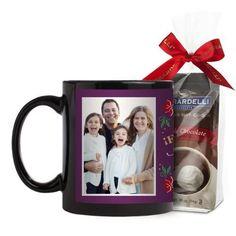 Felices Fiestas Mug, Black, with Ghirardelli Premium Hot Cocoa, 11 oz, Purple