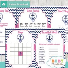 Navy & Pink Nautical Anchor Baby Shower Games. #babyprintables                                                                                                                                                      More