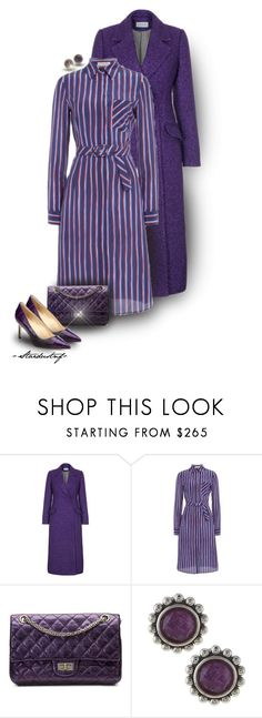 """For the Love of Purple ~ Striped Print Dress (Outfit Only)"" by stardustnf ❤ liked on Polyvore featuring Trilogy, Rasario, Altuzarra, Chanel, Lagos and Manolo Blahnik"