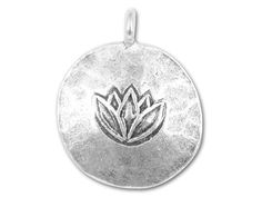 Hill Tribe Silver Large Lotus Round Pendant