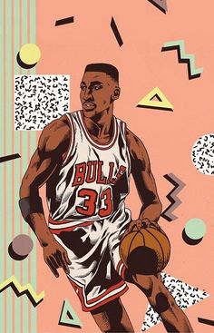 Basketball Art, Basketball Players, Scottie Pippen, Nba Wallpapers, Hip Hop Art, Sports Pictures, Nba Players, Chicago Bulls, Character Illustration