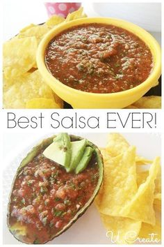 "I make fresh salsa every week.we'll see if this is true! ""The best fresh salsa ever and easy to make! I Love Food, Good Food, Yummy Food, Mexican Dishes, Mexican Food Recipes, Drink Recipes, Great Recipes, Favorite Recipes, Fresh Salsa"