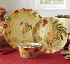Rooster Dinnerware Set, 12-Piece wish I could talk my DH  into new dishes....