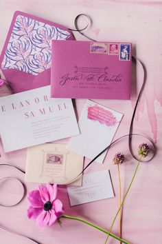 Radiant orchid adds a pop to your wedding invitations: http://www.stylemepretty.com/2014/09/23/15-ways-to-infuse-radiant-orchid-into-your-fall-wedding/