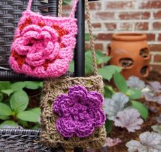 Little girl bags - all you need is two granny squares and a big flower