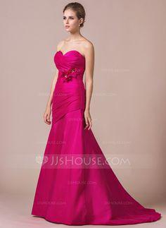 Trumpet/Mermaid Sweetheart Sweep Train Taffeta Bridesmaid Dress With Ruffle Beading Flower(s) (007056823)