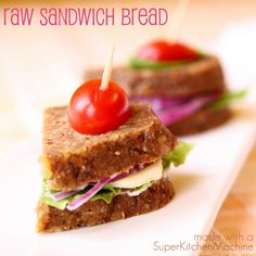 Tasty versatile gluten-free raw bread recipe for cooks using Thermomix TM5 and TM31. Gorgeous small loaves slice easily for raw food diet sandwiches.